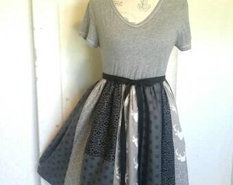 Upcycled Medium/Large Repurposed TShirt Dress Antler Dress Eco-Friendly Clothing