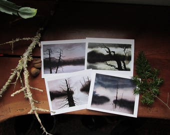 Set of 4 Winter Pond Greeting Cards