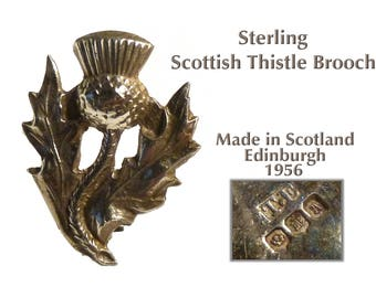 Fully Marked Vintage Sterling Silver Thistle Brooch from Scotland. 1956, Thomas Kerr Ebbutt. Edinburgh. Lovely Pin. About One Inch Long.
