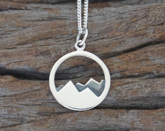 Sterling silver mountain range necklace, 15mm, Traveler's Gift, Birthday Gift, Mother's Gift