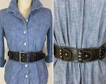 90s Women's Wide Black Leather Cut Out Belt with Silver Buckle and Studs, Waist or Hip Slung Style, Large to XL