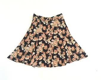 Vintage Rayon Button Up Mini Skirt