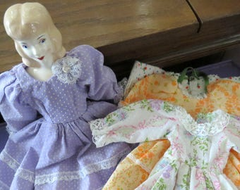 "12"" Vintage Doll with Clothes, Porcelain China Head, Cloth Torso, Dresses and Nightgown, 4 pc Wardrobe"