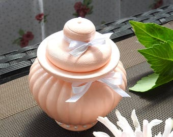 Small salmon pink, beaded glass trinket box