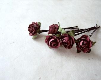 Rose Hair Pins, Paper Flower Bobby Pins, Deep Eggplant Burgundy, Rustic Hair Pins, Woodland Wedding, Floral Autumn Fall Hair Flowers