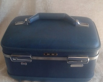 Vintage Blue Train Case, Makeup Case, Small Blue Suitcase, Blue Luggage, American Tourister