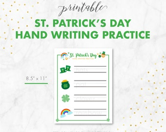 St. Patrick's Day Game - St. Patrick's Day Hand Writing Practice - Elementary Hand Writing - 1st Grade Worksheet - Handwriting Homework