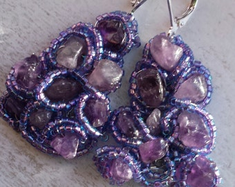 Purple Beads and Amethyst Stone Chips Handknitted Earrings Silver Wire French Clip Gift for Her