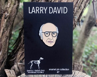 Larry David head enamel pin