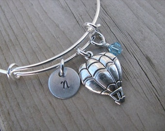 Hot Air Balloon Bangle Bracelet- Adjustable Bangle Bracelet with Hand-Stamped Initial, Hot Air Balloon Charm, and accent bead of your choice