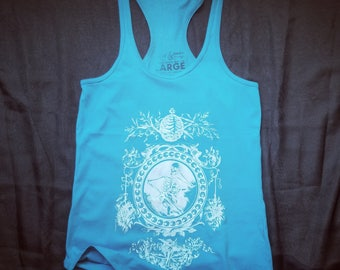 Intricate Skeleton, Ladies' Racerback Tank Top, PROTOTYPE, Size Large, Turquoise Fabric and White Ink, Gothic Style, Screenprinted