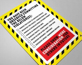 Parking ticket - Parking violation, Parking notes, Bad Driver card, Parking sign, Bad parking cards, prank gifts, joke gift, new driver gift