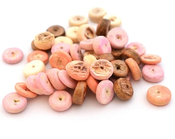 50 beads slices of coconut, handpainted in pink 7mm x 3mm