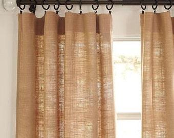 Sale- Sale! 20% off .Burlap curtains, Livingroom curtains.upscale burlap curtains, one panel