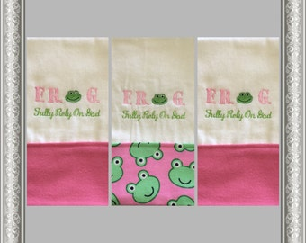 3 F.R.O.G Embroidered Personalized Burp Cloths, Pink,  F.R.O.G. (Fully Rely On God) Burp Cloth, Boutique Burp Cloth, Baby Shower Gift