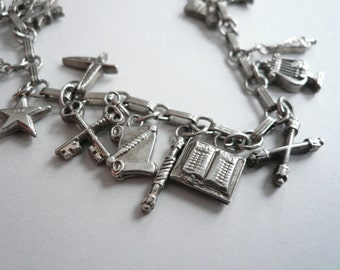 Masonic Order Eastern Star Vintage Sterling Silver Complete Set Charm Bracelet 18 Original Masonic Charms Full set