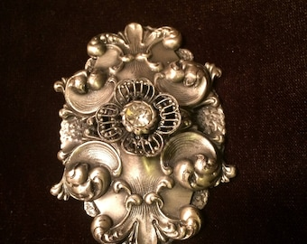 Victorian Floral Pin, Shawl Pin, Sweater Pin