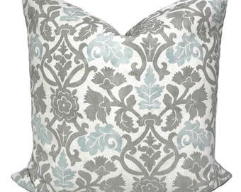Gray pillow cover, Gray throw pillows, Cushion covers, Blue throw pillow, Decorative pillow, Lumbar pillow, Shams, 11 sizes available