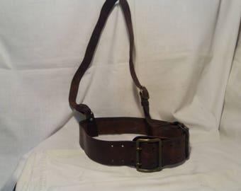 Vintage 1940's Bulgarian Army Dark Brown Leather Officer Belt with Shoulder Belt