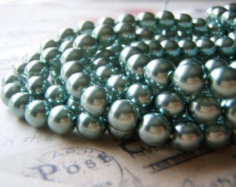 Indian Sapphire Pearl Beads 8mm Round Druk Smooth Czech Glass 20 Beads