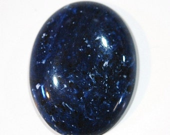 Vintage Blue Acrylic Cabochon with Black and White Speckles 40x30mm cab812C