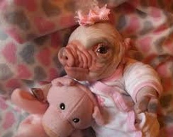 Custom made to order reborn baby Piglets art doll ooak unique piggy animal closed mouth