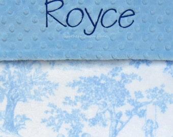 Baby Boy Blue Toile Blanket , Monogrammed Minky Blanket , New Baby Gift , Shabby Chic Blanket for Baby Boy or Baby Girl
