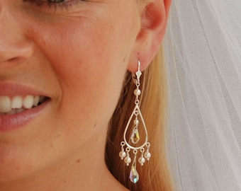 Chandelier Earrings, Long Dangle Earrings, Wedding Earrings, Swarovski Crystals, Pearls in Sterling Silver, Bridal - The Ice Palace Earrings