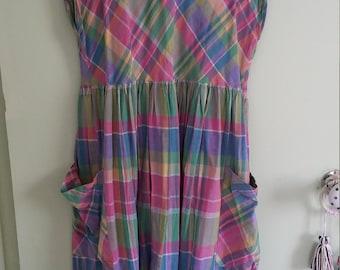 70s vintage plaid sleeveless midi dress