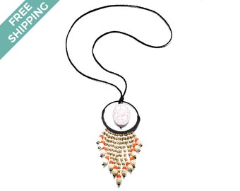 Black Rope Necklace Featuring a Large White Stone & Strands of Gold, Orange and White Beads