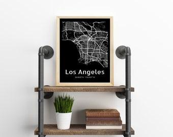 Los Angeles Map, City Map Wall Hanging, Los Angeles Wall Art Print, LA California Kitchen Decor or Office Decor