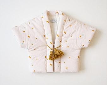 Baby Hanten,Kimono jacket, japanese vest,MERINGUE, fabric by Atelier Brunette