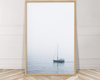 Boat Photography Art PRINT, Coastal Decor, Modern Minimalist, Coastal Photography, Beach House Wall Art, Seascape Photograph, Ocean Wall Art