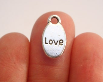 8 Love Charms Antique Silver  15 x 9mm - SC7002