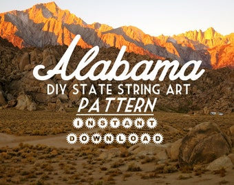 """Alabama - DIY State String Art Pattern - 7"""" x 11"""" - Hearts & Stars included"""