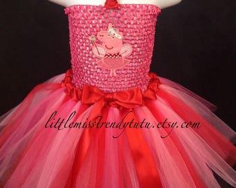 Peppa Pig Tutu Dress, Peppa Tutu Costume, Peppa Pig Tutu Dress, Peppa Pig Costume Girls, Girls Peppa Pig Birthday Tutu, Peppa Pig Costume