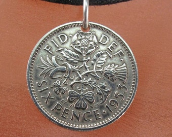 Sixpence Necklace . ENGLAND coin charm. lucky coin. bridal wedding coin. choose year  UK No.00750