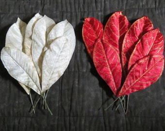 Velvet leaves,large,single accent leaves with glitter accents,6/pkg,red,winter white,holiday,Christmas florals