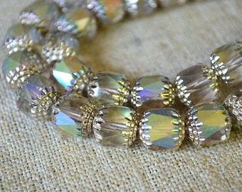 40pcs 10mm Round Cathedral Beads Czech Glass Smoke Apollo AB