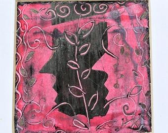 Sérigraphie sur papier rouge et noir petite sérigraphie impression profils un d'un genre Original et signé HKart1DollsNMore impression israélien Israël