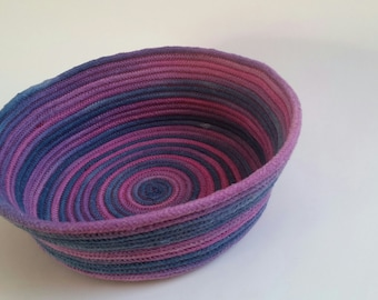 coiled rope bowl- hand dyed large blue pink and violet cotton rope bowl