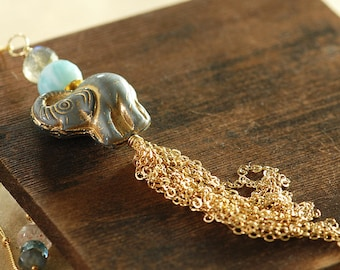 Elephant Tassel Necklace with Labradorite Larimar Sunstone and Topaz, Long Layering Gold Gemstone Necklace, Bohemian Jewelry