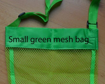 Small mesh bags. Personalized sea shell bags, pool toy bag.
