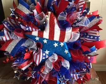 Red white and blue patriotic wreath