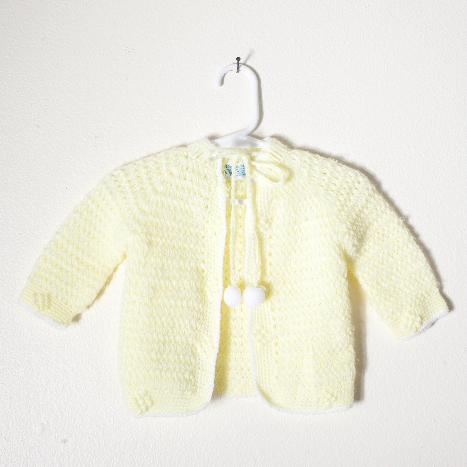 Pale Yellow Baby Sweater Retro Baby Clothes Vintage Baby