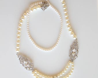 Art Deco Pearl Necklace With Cubic Zirconia Filigree Cocktail Necklace Best Gifts For Her