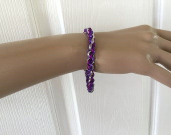 Purple Double Spiral Weave Chainmaille Bracelet