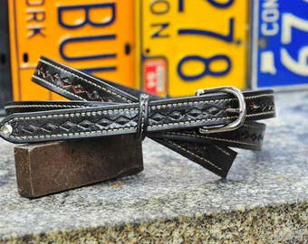 "The Crazy Diamond - a 1"" wide custom leather dress belt - Unisex, Mens or Ladies Custom Handmade Leather Belt"