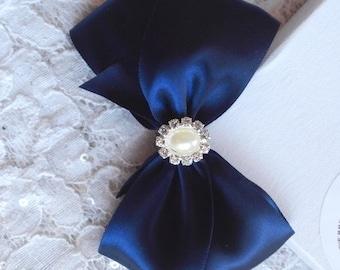 Navy Satin Hair Bow with Rhinestone, Pearl Center, Navy Blue Flower Girl Hair Bow, Hair Bow, Navy Satin Pageant Bow, Christmas Hair Bow