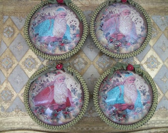 vintage victorian style father christmas diorama ornament, ornate large round, katherine's collection, choice of colors, victorian cottage